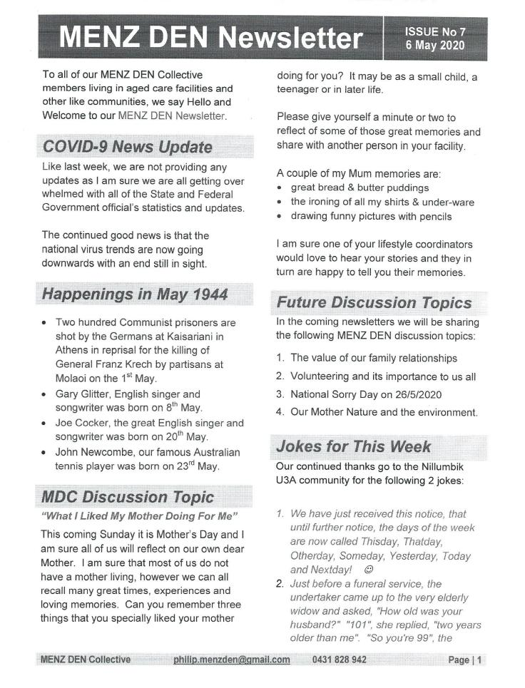 MDC Newsletter Page 1 of 6th May 2020